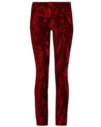 Pantaloni skinny di velluto bordeaux