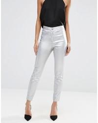 Pantaloni skinny in pelle argento di Asos