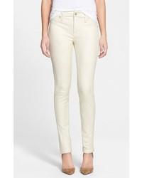 Pantaloni skinny in pelle bianchi