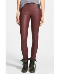 Pantaloni skinny in pelle bordeaux