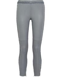 Pantaloni skinny in pelle grigi