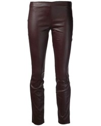 Pantaloni skinny in pelle marrone scuro