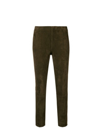 Pantaloni skinny in pelle marroni di Vince