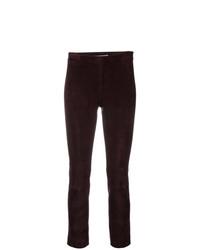 Pantaloni skinny in pelle melanzana scuro di Vince
