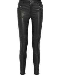 Pantaloni skinny in pelle neri