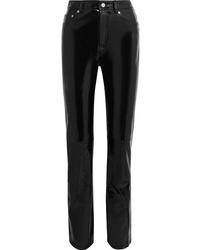 Pantaloni skinny in pelle neri di Helmut Lang