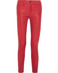 Pantaloni skinny in pelle rossi