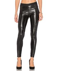 Pantaloni skinny in pelle trapuntati neri