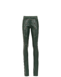 Pantaloni skinny in pelle verde scuro