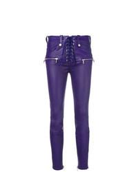 Pantaloni skinny in pelle viola