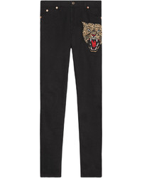 Pantaloni skinny ricamati neri di Gucci