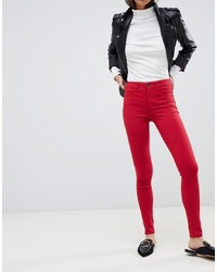 Pantaloni skinny rossi di Pieces