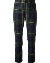 Pantaloni skinny scozzesi blu scuro e verdi