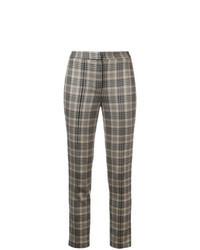 Pantaloni skinny scozzesi marroni