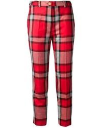 Pantaloni skinny scozzesi rossi