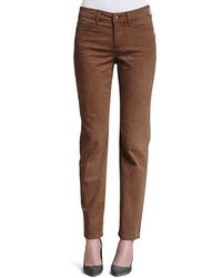 Pantaloni skinny stampati marroni