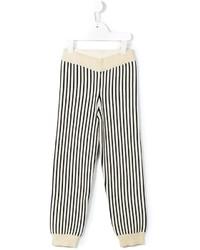 Pantaloni sportivi a righe verticali beige