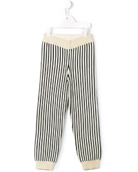 Pantaloni sportivi a righe verticali beige di Bobo Choses