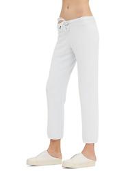 Pantaloni sportivi lavorati a maglia bianchi