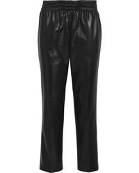 Pantaloni stile pigiama in pelle neri