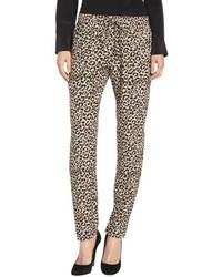 Pantaloni stile pigiama leopardati marrone chiaro