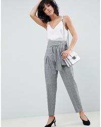Pantaloni stretti in fondo a quadri grigi di ASOS DESIGN