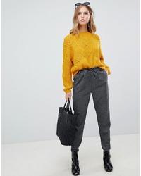 Pantaloni stretti in fondo a quadri grigio scuro di Only