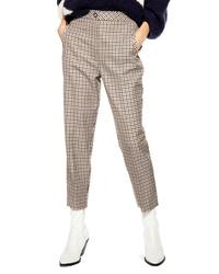 Pantaloni stretti in fondo a quadri marrone chiaro