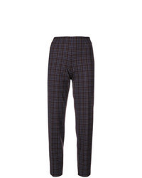 Pantaloni stretti in fondo a quadri marrone scuro
