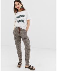 Pantaloni stretti in fondo a quadri marroni di Ichi