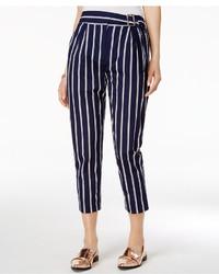 Pantaloni stretti in fondo a righe verticali blu scuro