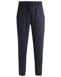 Pantaloni stretti in fondo a righe verticali blu scuro di Even&Odd