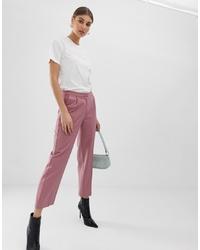Pantaloni stretti in fondo a righe verticali rosa di Pieces