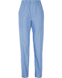 Pantaloni stretti in fondo azzurri