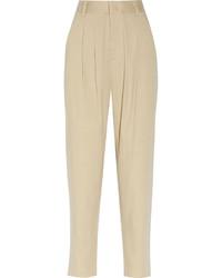 Pantaloni stretti in fondo beige