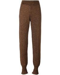 Pantaloni stretti in fondo con volant dorati di Lanvin