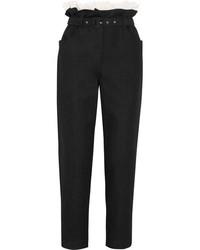 Pantaloni stretti in fondo con volant neri
