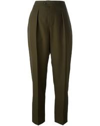 Pantaloni stretti in fondo di lana verde oliva di Maison Margiela