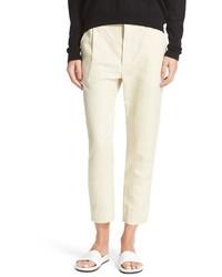 Pantaloni stretti in fondo di lino beige