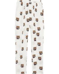 Pantaloni stretti in fondo di seta bianchi