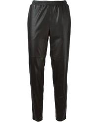 Pantaloni stretti in fondo in pelle neri
