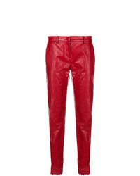 Pantaloni stretti in fondo in pelle rossi