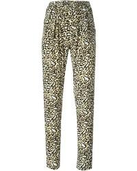 Pantaloni stretti in fondo leopardati marrone chiaro