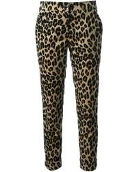 Pantaloni stretti in fondo leopardati marrone chiaro di Etro