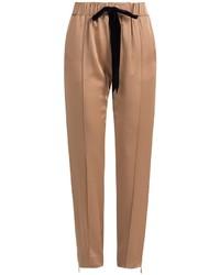 Pantaloni stretti in fondo marrone chiaro