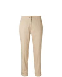 Pantaloni stretti in fondo marrone chiaro di Etro