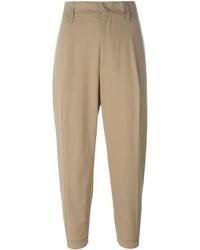 Pantaloni stretti in fondo marrone chiaro di Jil Sander