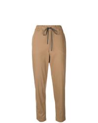 Pantaloni stretti in fondo marrone chiaro di Semicouture