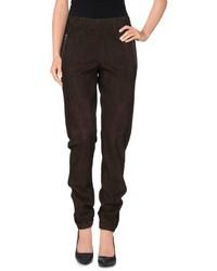 Pantaloni stretti in fondo marrone scuro