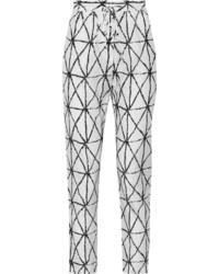 Pantaloni stretti in fondo stampati bianchi